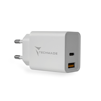 TECHMADE CARICATORE UNIVERSALE TYPE-C + USB 20W FAST CHARGE